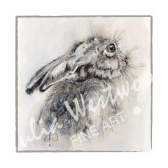 Hare (Light Border) - Greeting Card