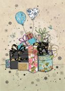 Gifts & Balloons - Gold Foil Embossed Card